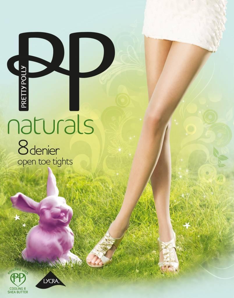 """Pretty Polly 8D. """"Naturals"""" Open teen zomerpanty voor in een open schoen."""