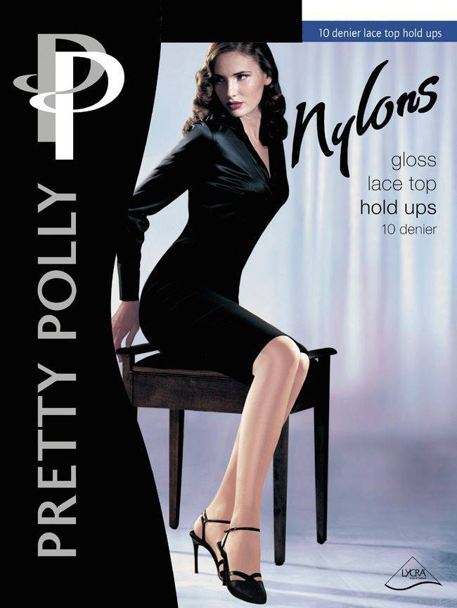 "Pretty Polly 10D. ""Nylons"" glans Hold Ups met zelf ophoudend kanten boord"