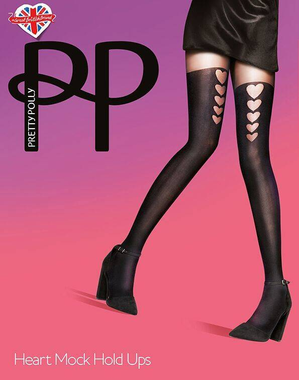 Pretty Polly Graduated Heart Mock Suspender Tights