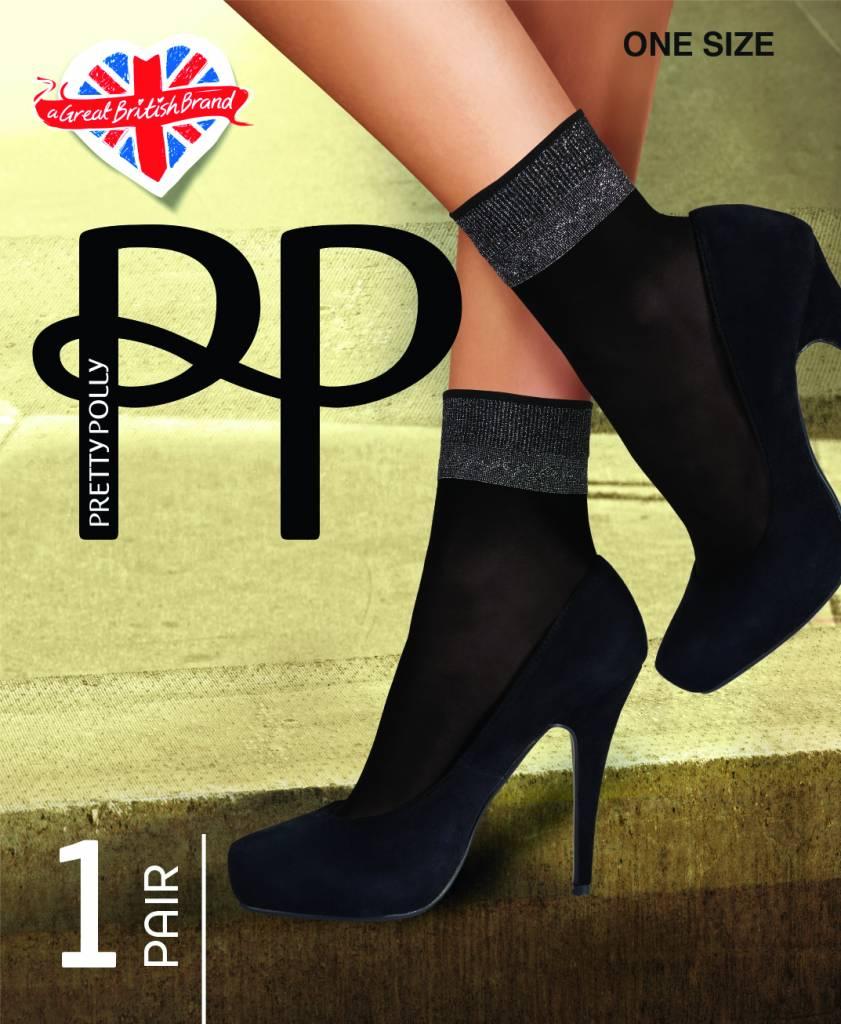 Pretty Polly Sokje  uit de serie fashion socks met lurex boordje