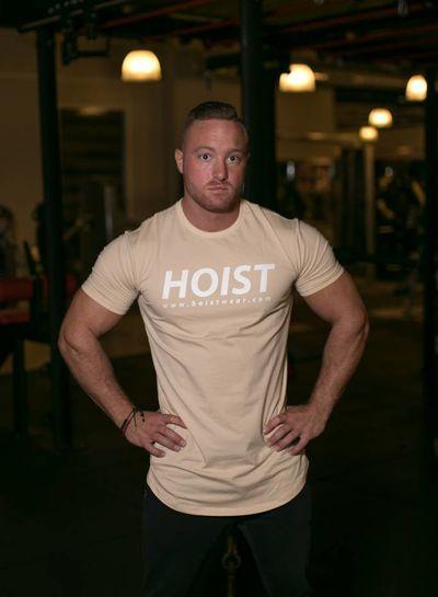 Hoistwear Team Hoist Curved Beige Tshirt  restocked!