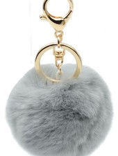 "Fur Keychain ""Foxy"" Light Grey"