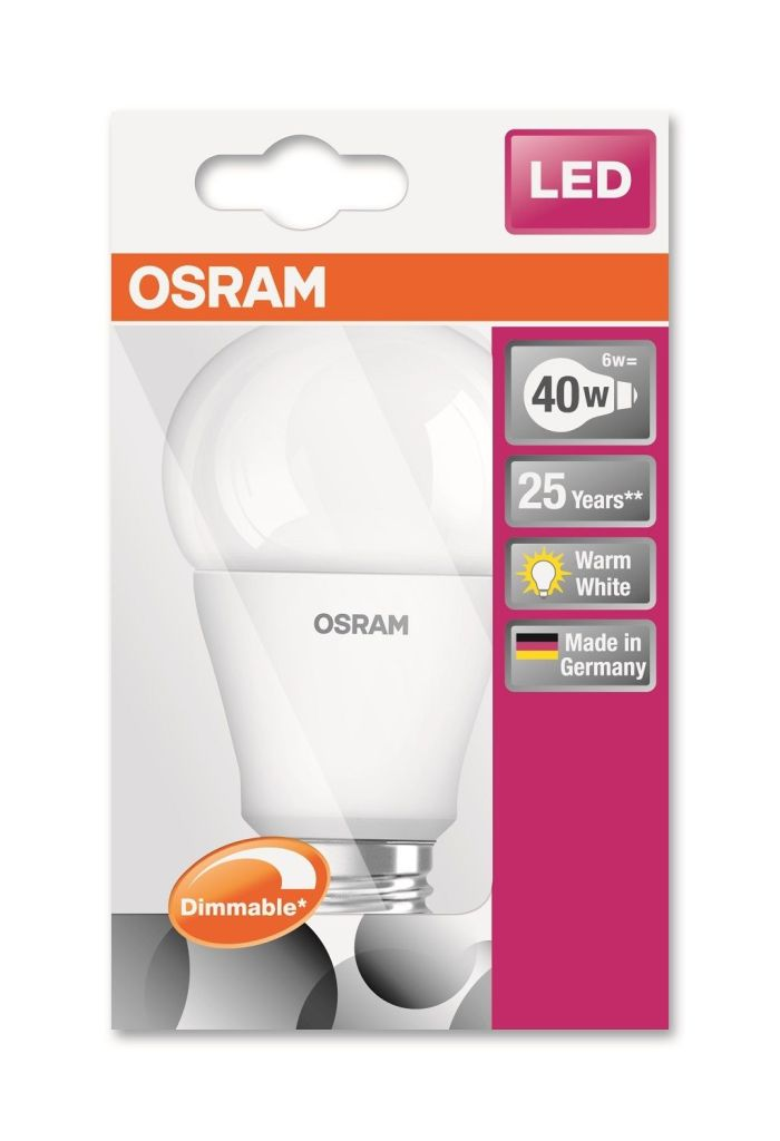 osram led superstar cla40 e27 6w ww hakan dhz. Black Bedroom Furniture Sets. Home Design Ideas