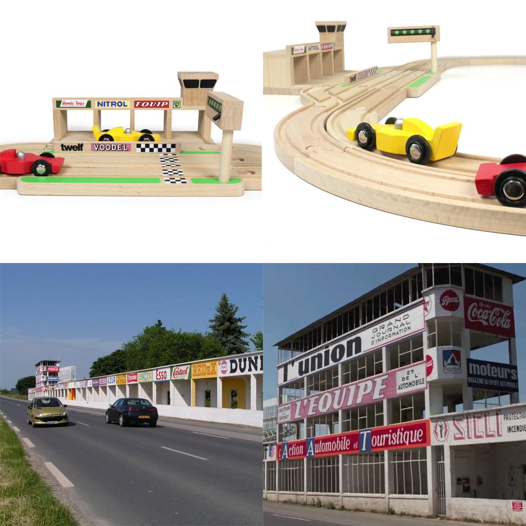 Verlaten circuit van Reims is een inspiratie voor houten speelgoed