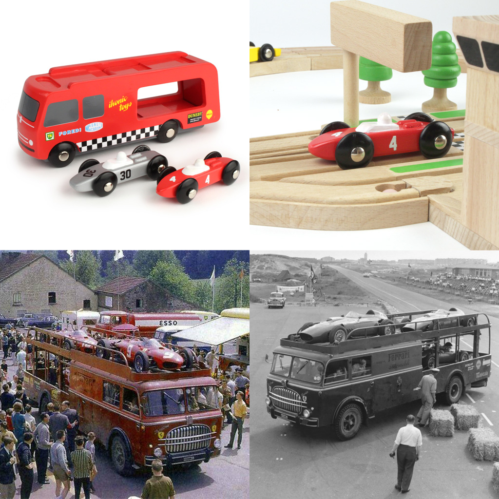 wooden toy racing car transporter based on 50's f1 fiat bartoletti