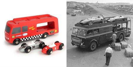 Race-auto transporter, geïnspireerd door Formule 1 uit 1950