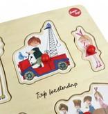 Ikonic Toys Houten Puzzel 'De Rode Kraanwagen'