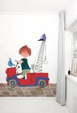 Kek Amsterdam Fotobehang 'De Rode Kraanwagen' van Fiep Westendorp