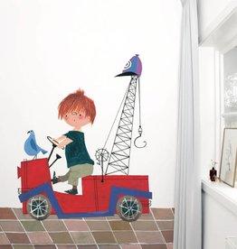 Kek Amsterdam Fotobehang 'De Rode Kraanwagen'