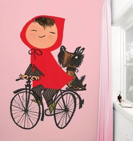 Kek Amsterdam Photo wallpaper 'Girl on bicycle', pink - Fiep Westendorp