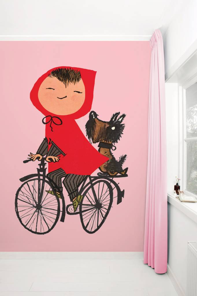 Kek Amsterdam Photo wallpaper 'Girl on bicycle', pink - Fiep Westendorp
