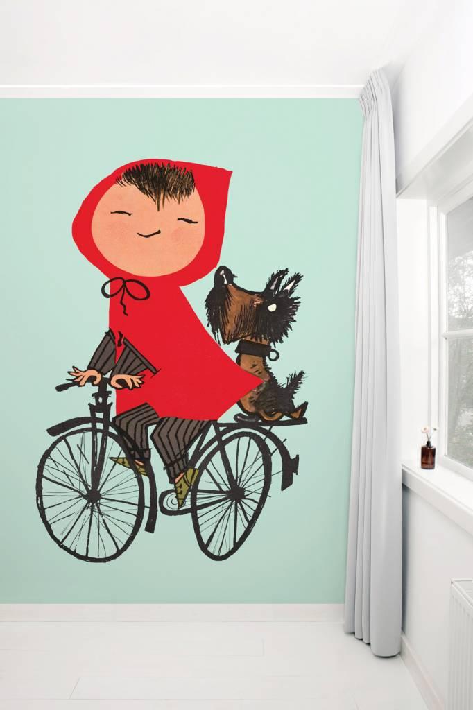 Kek Amsterdam Fotobehang 'Op de fiets', groen, Fiep Westendorp