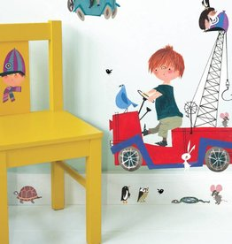 Kek Amsterdam Wall stickers Boy in the red tow-truck with Animals