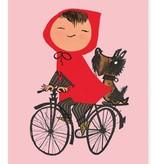 Kek Amsterdam Poster 'Op de fiets', roze