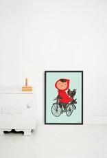 Kek Amsterdam Poster 'Op de fiets', groen