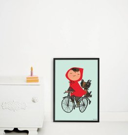 Kek Amsterdam Poster 'The Girl on Bicycle', green, 42 x 60 cm