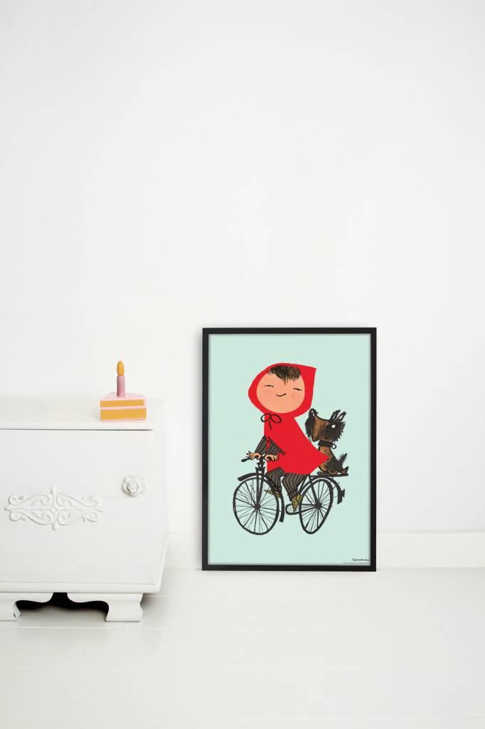 Kek Amsterdam Poster 'Op de fiets', groen, 42 x 60 cm