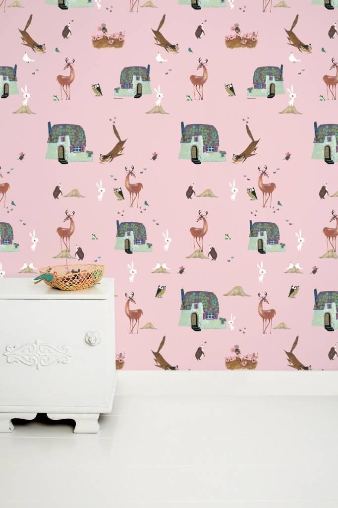 Kek Amsterdam Wallpaper 'Forrest Animals', pink - Fiep Westendorp