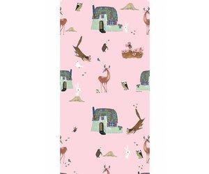 Behang Kinderkamer Roze : Behang bosdieren roze fiep westendorp webshop
