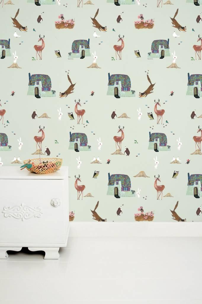Kek Amsterdam Wallpaper Forest Animals, green