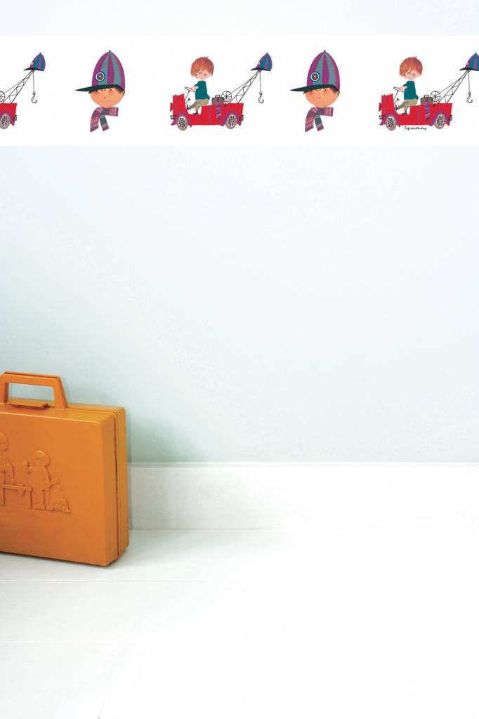 Kek Amsterdam Behangrand 'De Rode Kraanwagen' - Fiep Westendorp