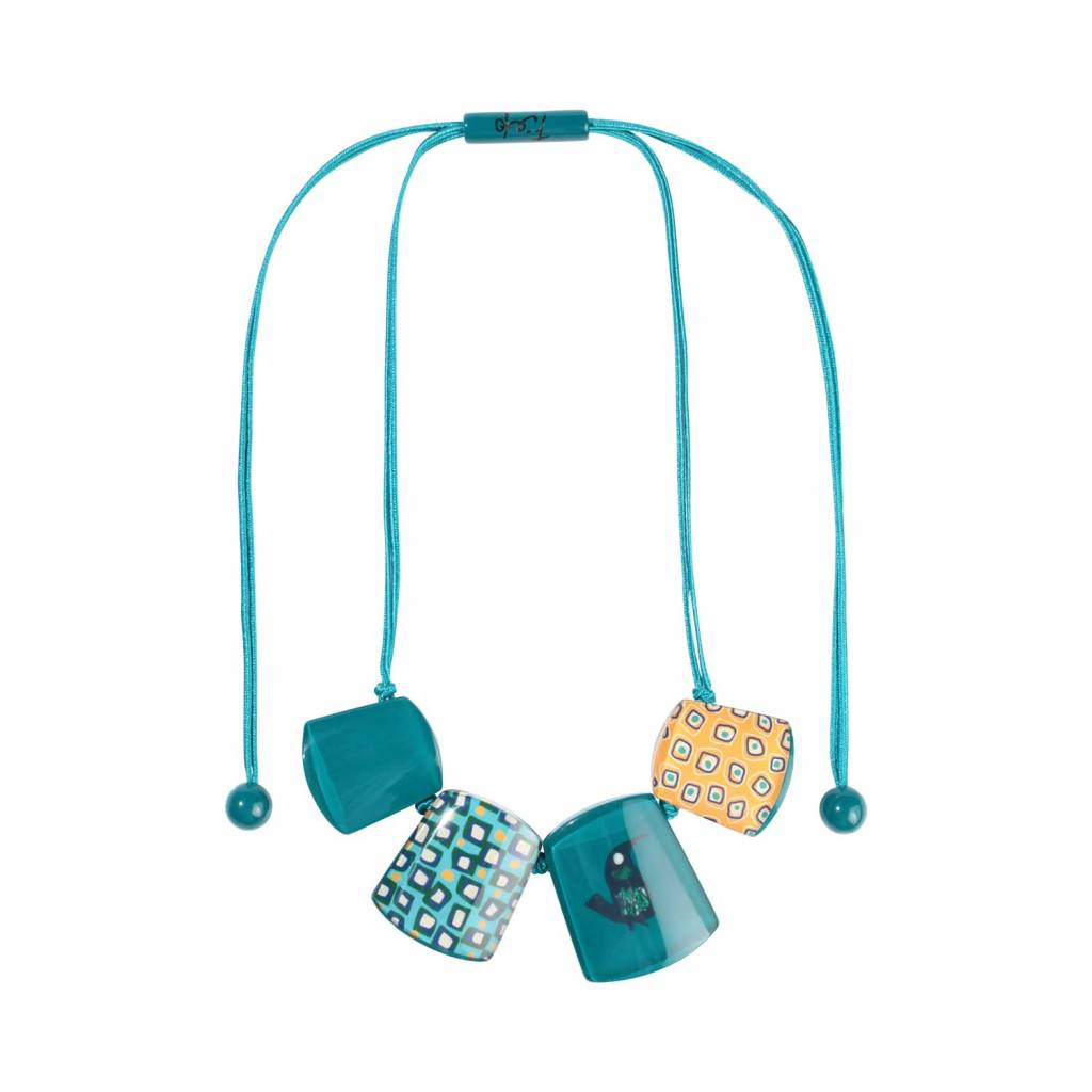 Zsiska Necklace 'Colourful Fifties', turquoise - Fiep Westendorp