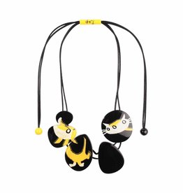 Halsketting 'Hond en kat' zwart/geel/wit - Fiep Westendorp
