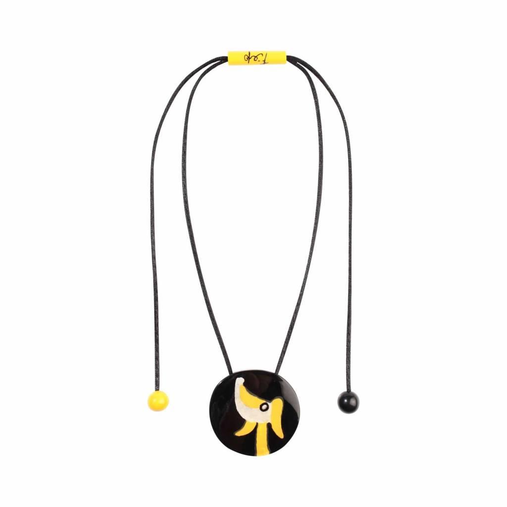 Zsiska Halsketting 'Hond' zwart/geel/wit - Fiep Westendorp