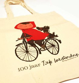 Fiep Amsterdam BV Linen bag 'Meisje op de Fiets' - Fiep Westendorp