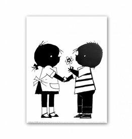 Art Unlimited Jip en Janneke Poster, Jip offers a flower to Janneke, 30 x 40 cm