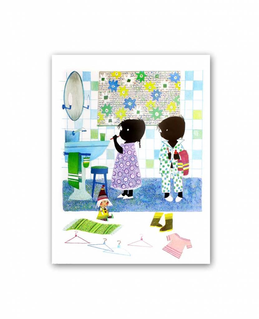 Art Unlimited Jip en Janneke Poster, Jip en Janneke are brushing their teeth, 30 x 40 cm
