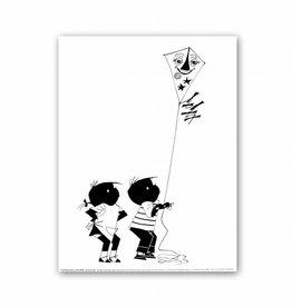 "Art Unlimited Jip en Janneke Poster: ""Kiting"". 30 x 40 cm"