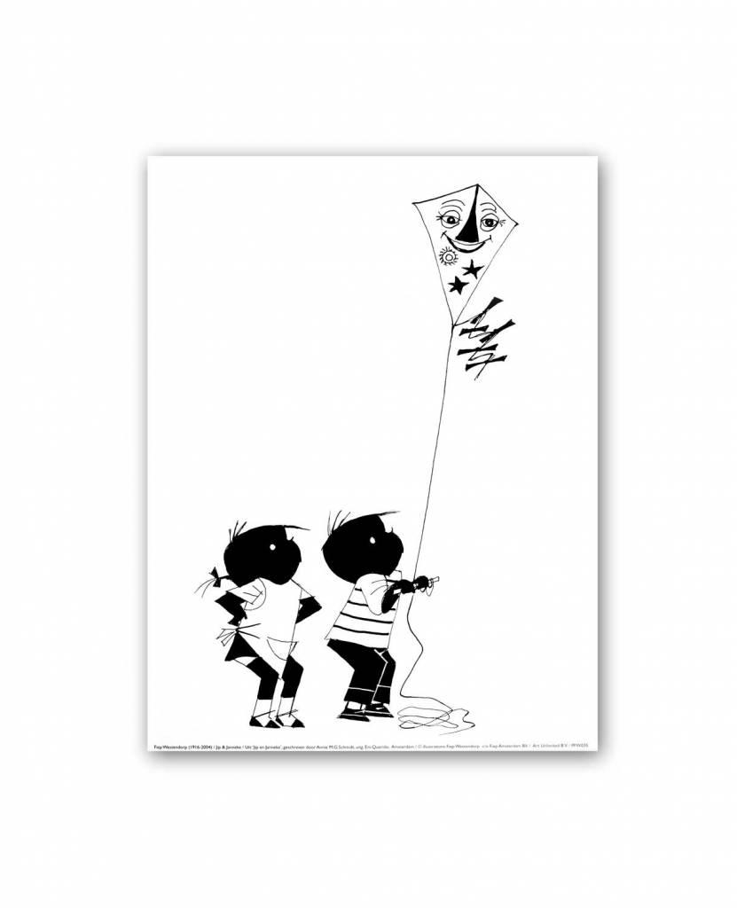 Art Unlimited Jip en Janneke Poster, Jip en Janneke met een vlieger, 30 x 40 cm