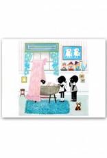Art Unlimited Jip en Janneke Poster: Jip en Janneke are standing by a cradle. 30 x 40 cm
