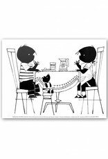 Art Unlimited Jip en Janneke Poster, Jip en Janneke eten koekjes aan tafel, 30 x 40 cm