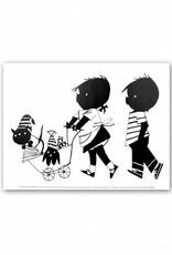 Art Unlimited Jip en Janneke Poster, Jip en Janneke lopen met Takkie en Siepie in de wagen, 30 x 40 cm