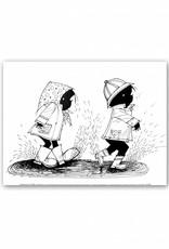 Art Unlimited Jip en Janneke Poster, Jip en Janneke lopen in de regen, 30 x 40 cm