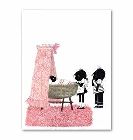 """Art Unlimited Jip en Janneke poster, roze, """"Wiegje"""". 50 x 67 cm"""