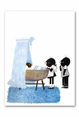 """Art Unlimited Jip en Janneke poster, blauw, """"Wiegje"""", 50 x 67 cm"""
