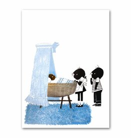 "Art Unlimited Jip en Janneke poster, blue, ""Cradle"". 50 x 67 cm"