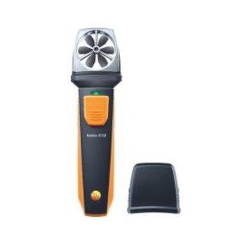De testo 410i, de handzame vleugelrad anemometer i.c.m. de smartphone of tablet