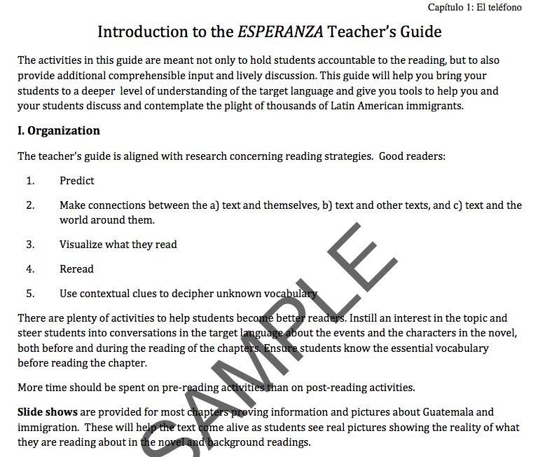 Esperanza - Teacher's Guide on CD