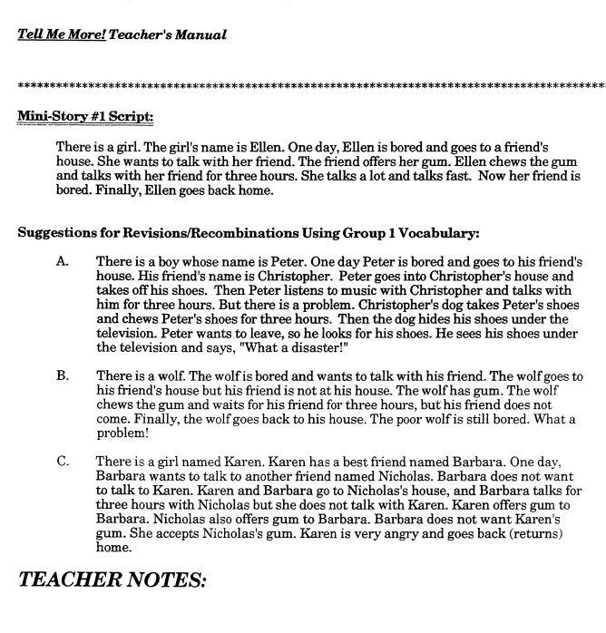 Tell me more! Teacher's Manual