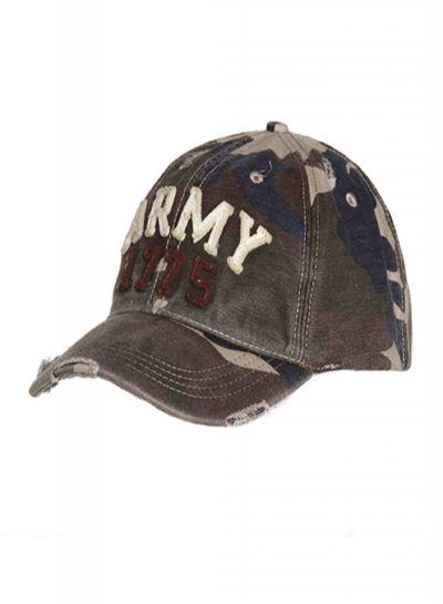 Baseball cap stone washed army 1775