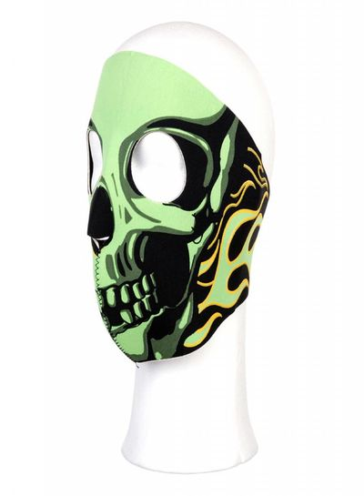 Biker mask full face green flames #106