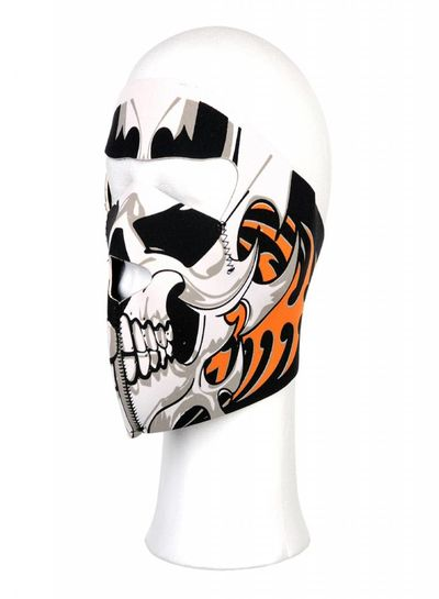 Biker mask full face white skull orange bones #102