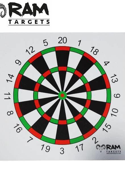 Schietkaart darts 14 x 14 cm