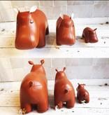 Zuny Boekensteun Nijlpaard - Bruin