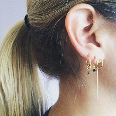 Bobby Rose Earring - Double Golden Chain