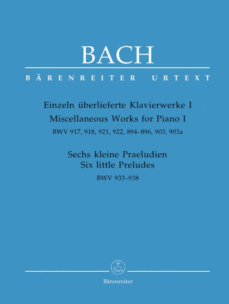 Bärenreiter Bach, J.S. | Diverse werken voor piano I